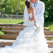 Stock Photo: Bride and groom kissing