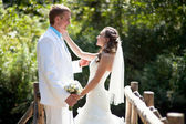 Wedding - happy bride and groom — Stock Photo