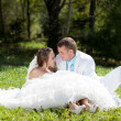 Bride and groom huggling sitting at green grass — Stock Photo #9310996