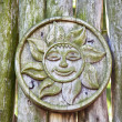 Stock Photo: Pagan wooden sun