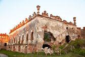 Medziboz castle ruins on sunset — Stock Photo