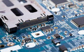 Laptop motherboard close view on details — Stock Photo