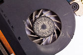 Laptop dirty fan front view — Stock Photo