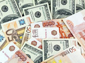 Dollars, roubles and euro — Stock Photo