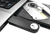 Isolated USB drive in a laptop — Stock Photo