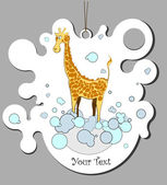 Giraffe in a bathroom — Stock Vector