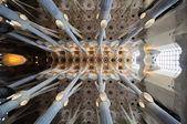 Sagrada Familia cathedral ceiling architecture — Stock Photo