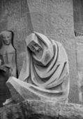 Sad man sculpture at Sagrada Familia — Stock Photo