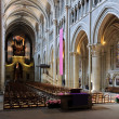 Stock Photo: Lausanne cathedral nave from back.