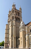 Lausanne cathedral tower close up. — Stock Photo
