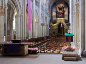 Lausanne cathedral interior from the back. — Stock Photo
