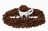 Coffe cup and bean shape — Stock Photo