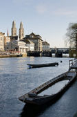 Boats on the river Limmat — Stock Photo