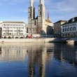 Stock Photo: Zurich cathedral reflecting in river