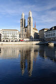 Zurich cathedral reflecting in the river — Stock Photo