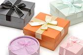 Gift boxes isolated on white background — Stock Photo