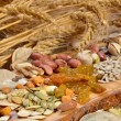 Stock Photo: Dried cereal seeds and fruits
