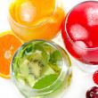 Various natural fresh juice and fruits — Stock Photo