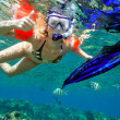 Young woman snorkeling  — Stock fotografie