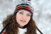 Young women outdoor in winter enjoying the snow — Stock Photo