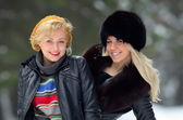 Young pretty women outdoor in winter — Stock fotografie