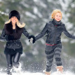 Young women outdoor in winter — Stock Photo