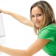 Beautiful young woman in front of the computer — Stock Photo