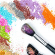 Professional make-up brush and colorful eyeshadow - Stock Photo