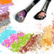 Professional make-up brush and colorful eyeshadow — Stock Photo