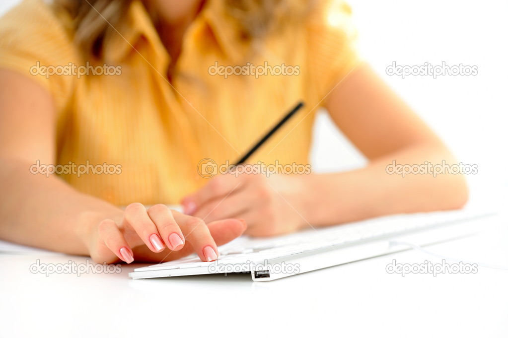 Closeup of woman hands typing — Stock Photo #9033121