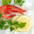 Royalty-Free Stock Photo: Shrimps with lemon and ice