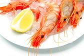 Shrimps with lemon on ice — Stock Photo