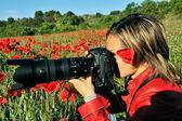 Profesyonel kadın fotoğrafçı açık — Stok fotoğraf