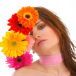 Beautiful young woman with flowers — Stock Photo #9550113