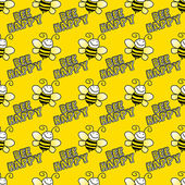 Seamless Bumblebees on Bright Yellow Background — Stock Photo