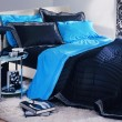 Stock Photo: Modern blue-black bedroom