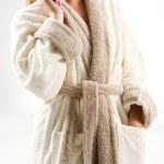 Woman in bath robe — Stock Photo #9153627