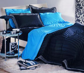 Modern blue-black bedroom — Stock Photo