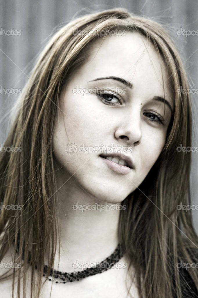 Portrait of beautiful young women. Closeup of smiling face.  Stock Photo #8903280