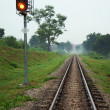 Stock Photo: Railway track with Trafficlight