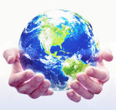 Holding Globe White — Stock Photo