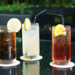 Three ice cold drinks — Stock Photo