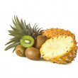 Whole and halved Pineapple and Kiwi fruit - Stock Photo
