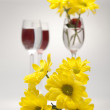 Yellow flowers in a wine-glass on a white background — Stock Photo