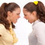 Gemini sisters quarrel on a white background — Stock Photo #9423236