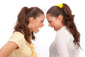 Gemini sisters quarrel on a white background — Stock Photo