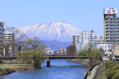 Mt.iwate and Morioka city against blue sky — Stock Photo