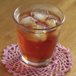 Cold glass of iced tea with ice — Stock Photo