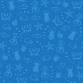 Sea life seamless pattern in blue — Stock Vector