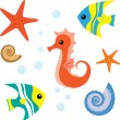 Cartoon sea life set 1 - Stock Vector